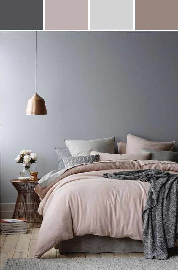 dusty pink and gray bedroom color ideas