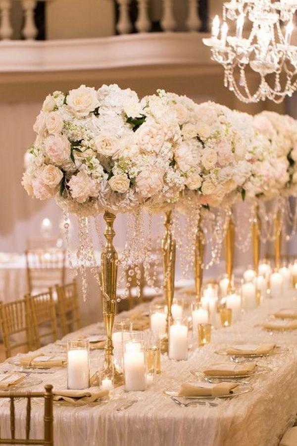 Elegant Vintage Tall Wedding Centerpiece With Candlesticks