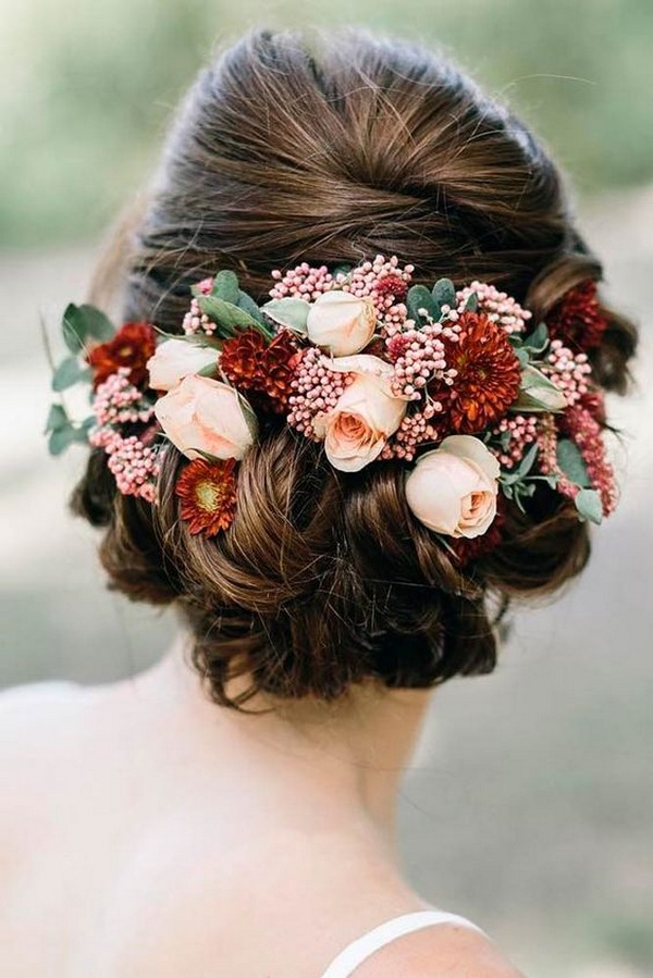fall updo wedding hairstyle with floral