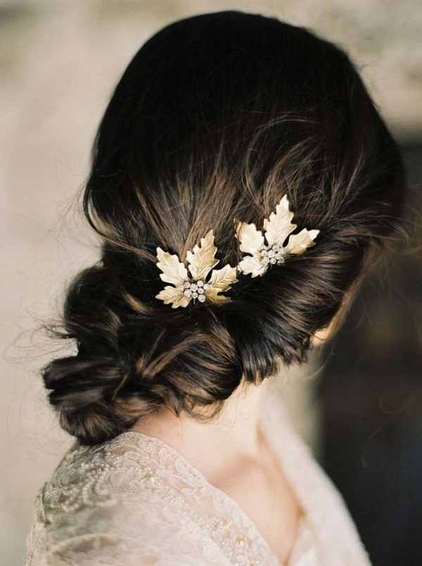 fall updo wedding hairstyle with gold maple leaves hairpins