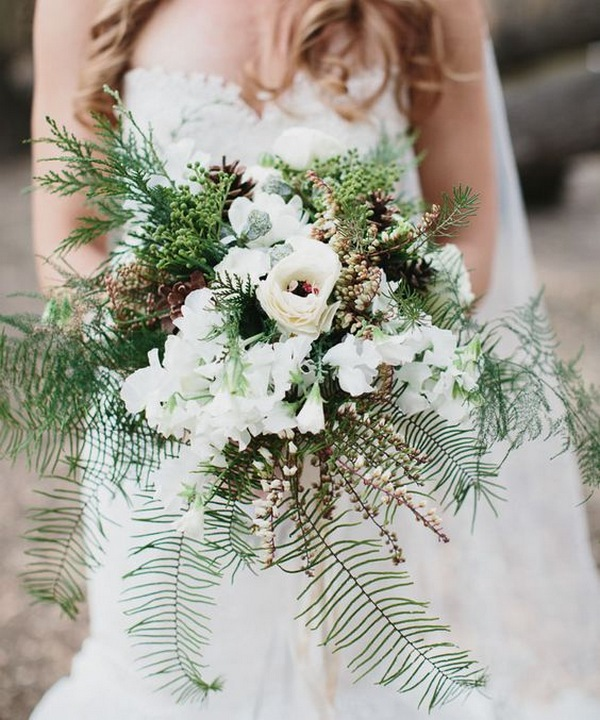 forest rustic winter wedding bouquet