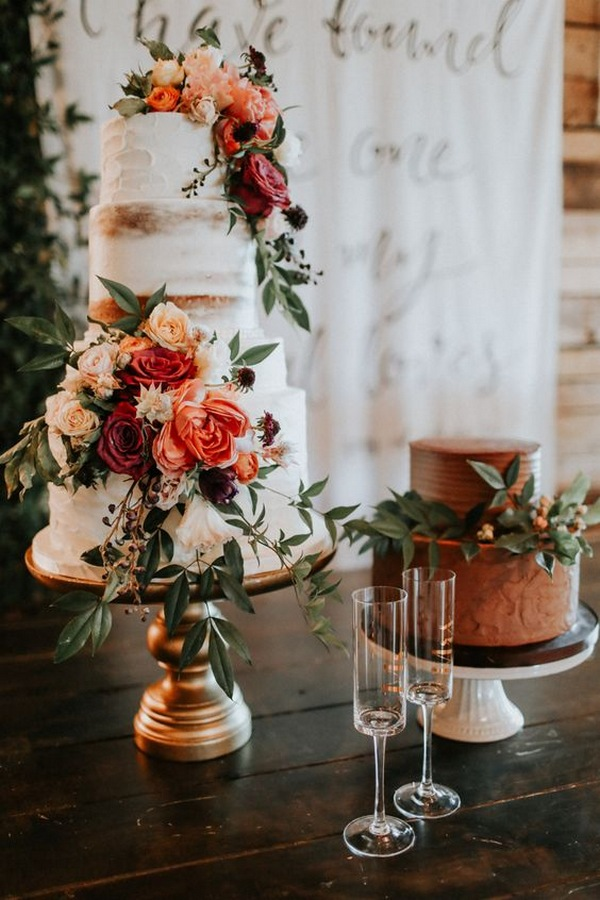 gorgeous floral fall wedding cake ideas