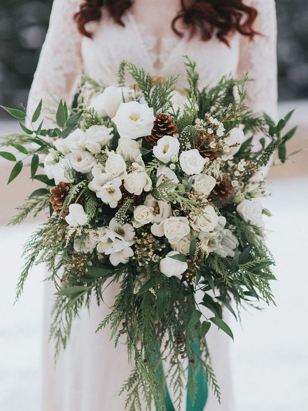 greenery and white winter wedding bouquet