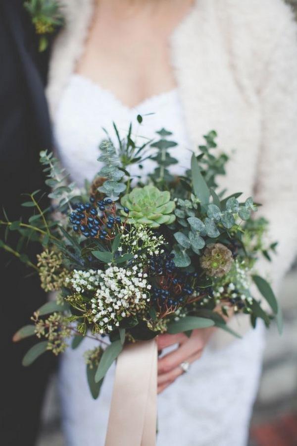 greenery winter wedding bouquet