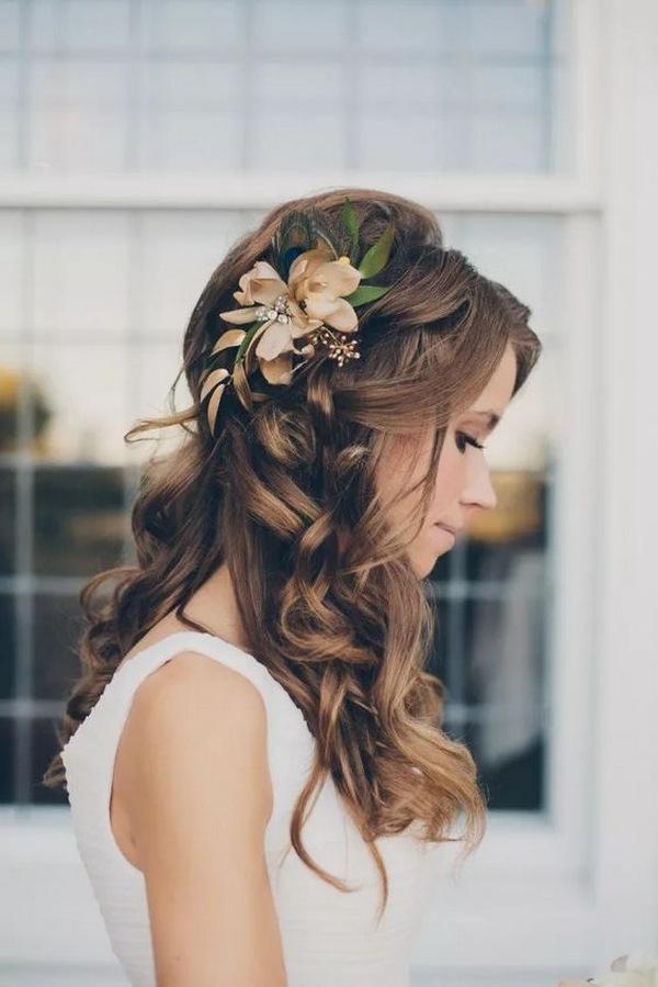 half up half down fall wedding hairstyle ideas