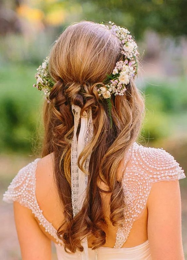 half up half down fall wedding hairstyle with floral crown