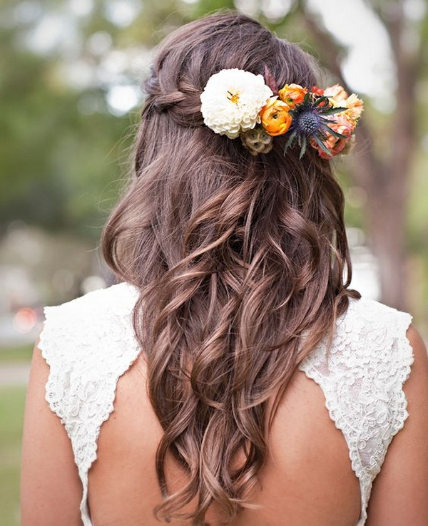 half up half down fall wedding hairstyle