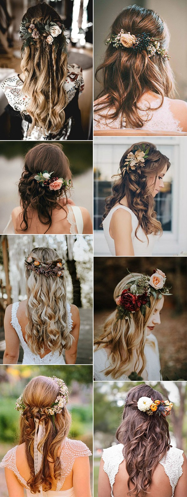half up half down fall wedding hairstyles