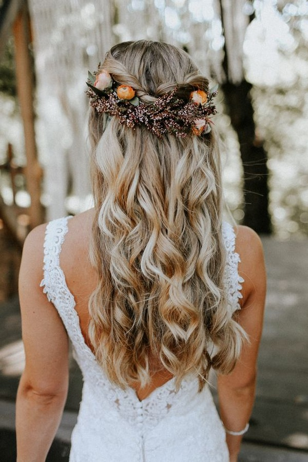 half up half down wedding hairstyle with fall headpiece