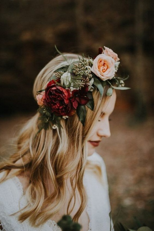 half up half down wedding hairstyles with flower crown for fall wedding