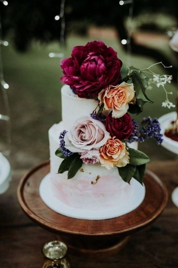 jewel tones floral fall wedding cake ideas