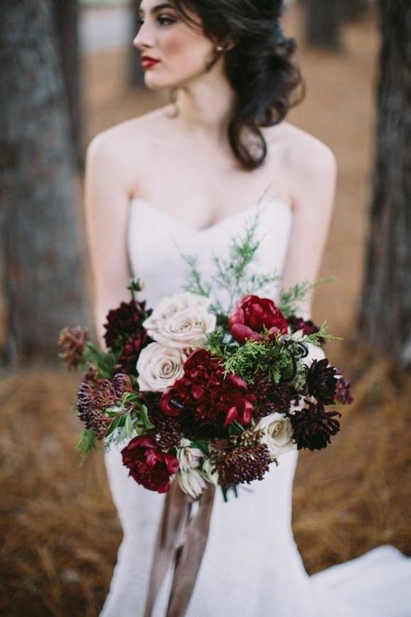 marsala and blush winter wedding bouquet