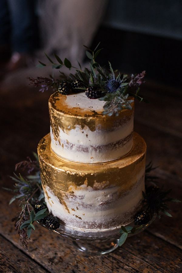 metallic gold fall wedding cake ideas