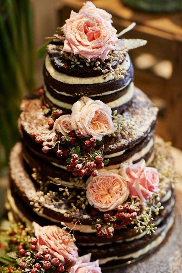 naked floral fall wedding cake