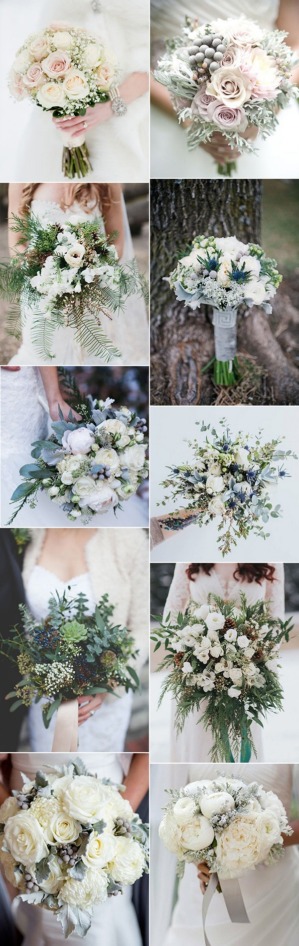 neutral winter wedding bouquets for 2018
