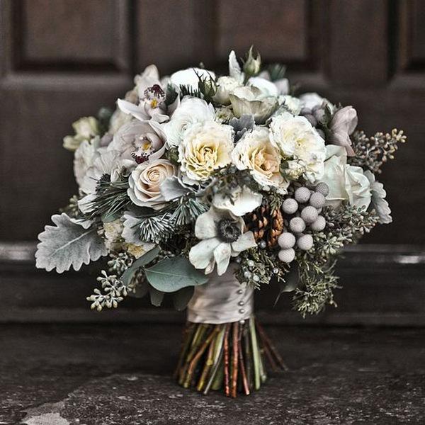 neutral winter wedding bouquets