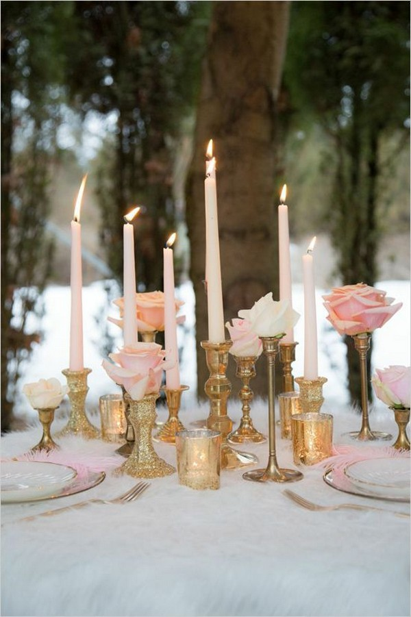 pink and gold vintage wedding centerpiece with candlesticks