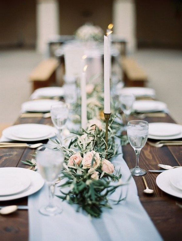rustic chic wedding centerpiece ideas with candlesticks