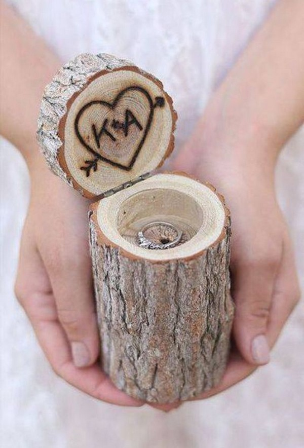 rustic monogram wooden wedding ring box ideas