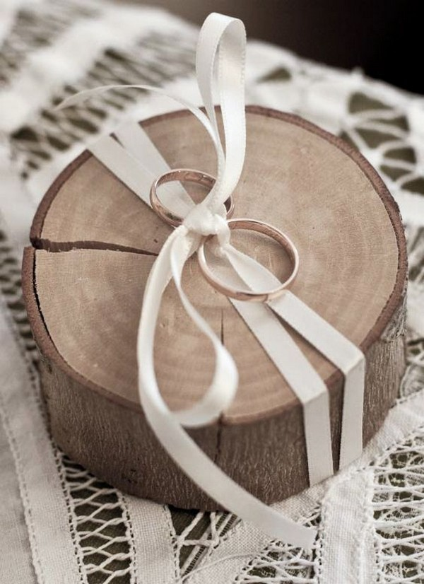 rustic wood wedding ring holder
