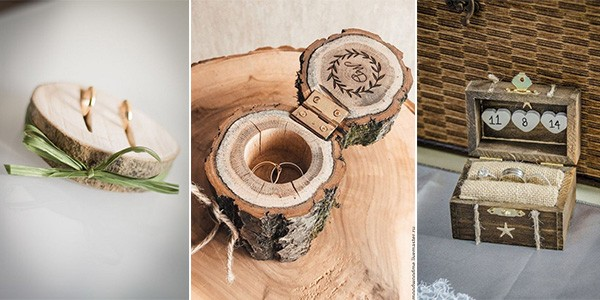 rustic wooden wedding ring bearer pillow and box ideas