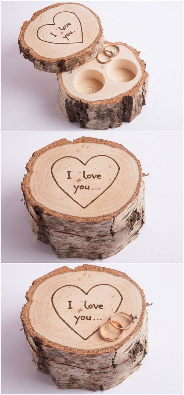 rustic wooden wedding ring box