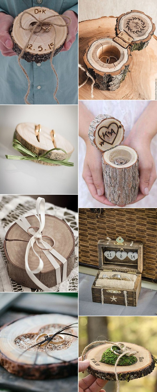 rustic wooden wedding ring pillow and box ideas
