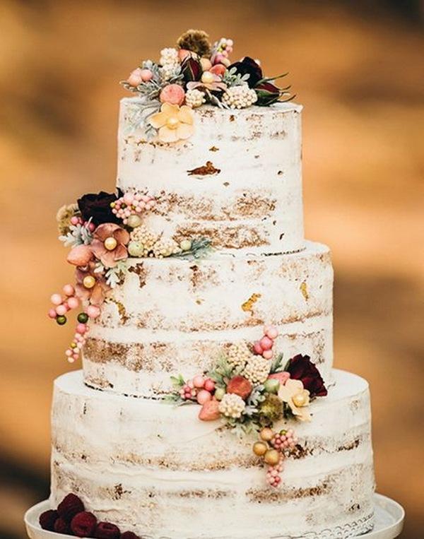 semi naked fall wedding cake with fruites