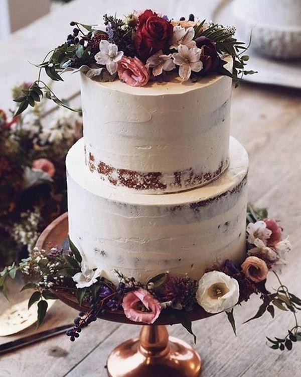 semi naked floral fall wedding cake