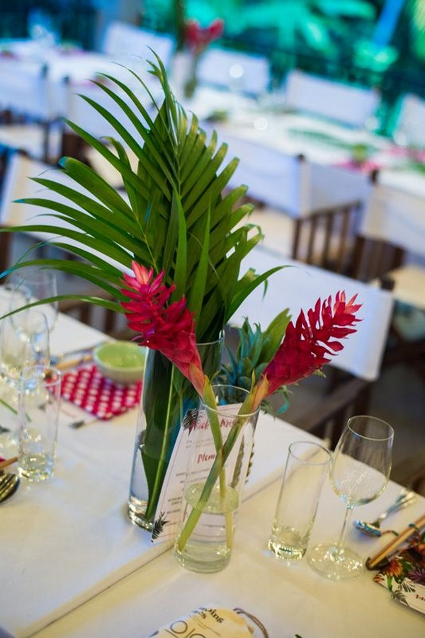 simple greenery and hot pink tropical wedding centerpiece