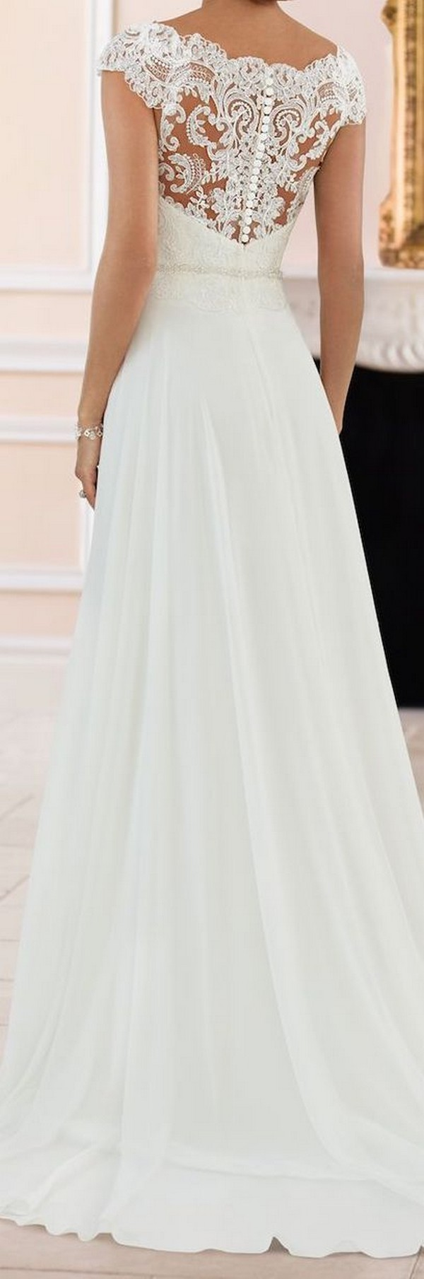 stella york lace wedding dress with cap sleeves