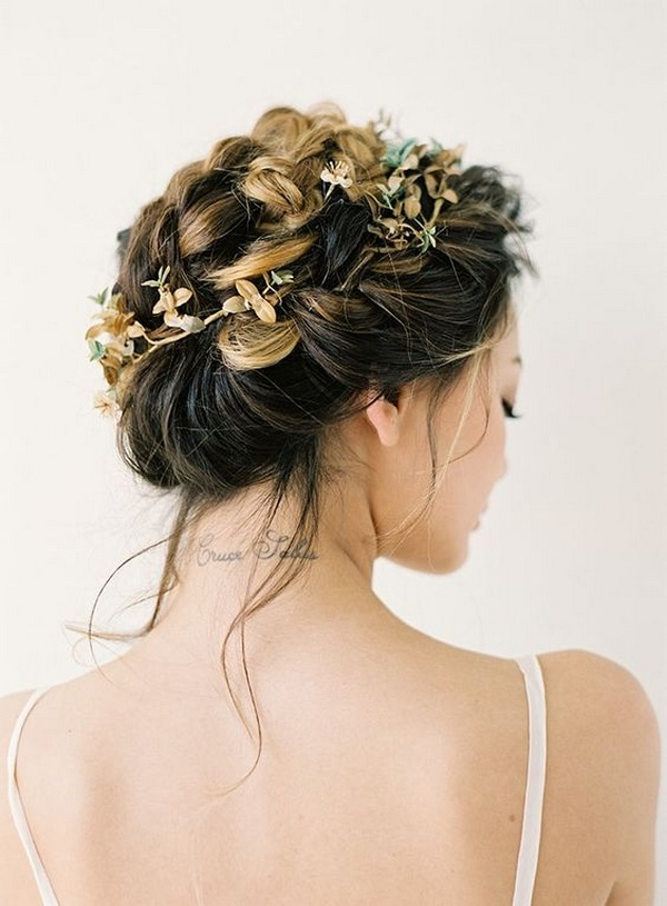 stylish updo wedding hairstyle with fall headpieces