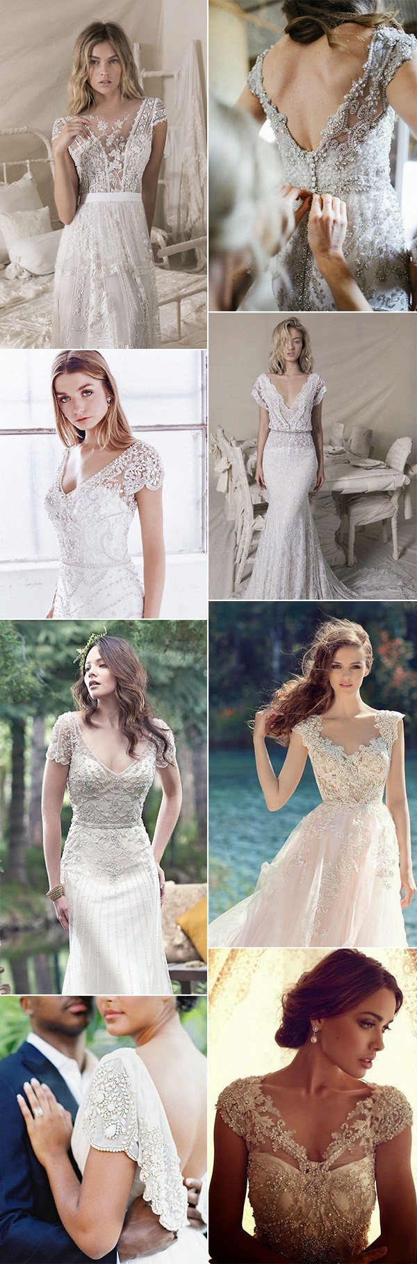 trending vintage wedding dresses with cap sleeves