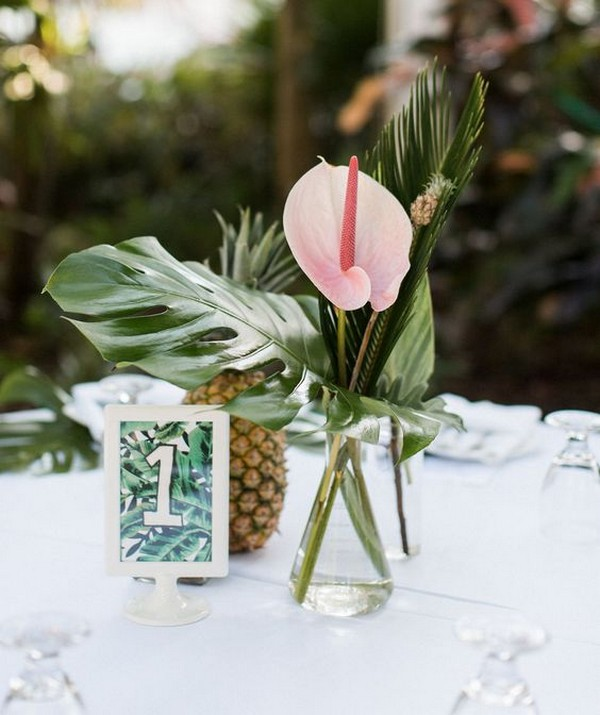 tropical wedding centerpiece with pineapple