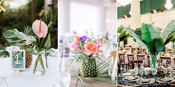 tropical wedding centerpieces