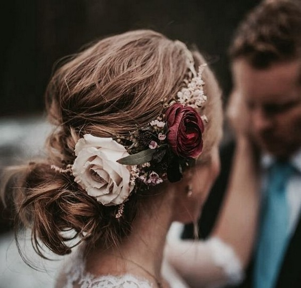 updo wedding hairstyle with fall inspired headpiece