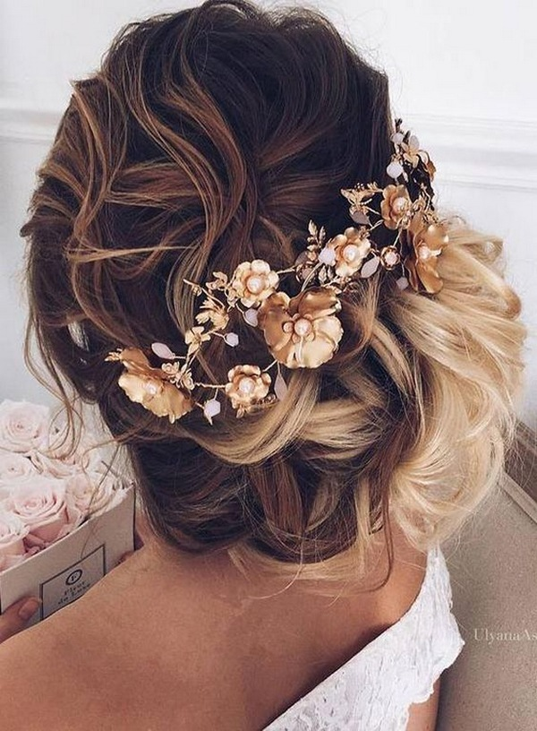 updo wedding hairstyle with gold headpiece for fall