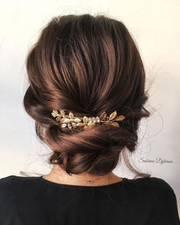 updo wedding hairstyle with gold headpiece