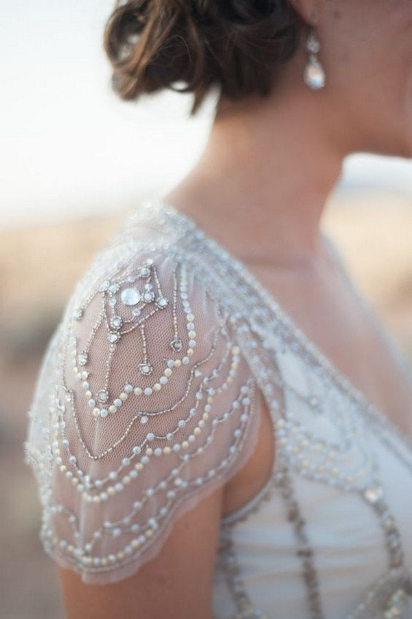 vintage beaded wedding dress with cap sleeves 2