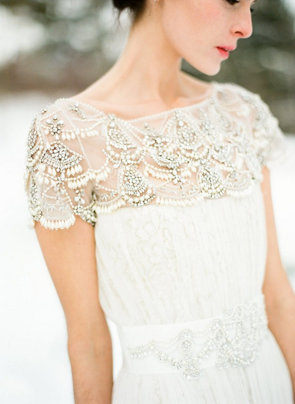vintage beaded wedding dress with cap sleeves