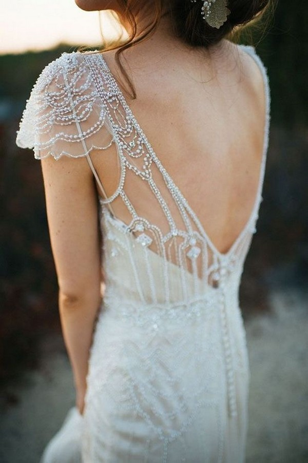vintage beaded wedding dress with v back and cap sleeves