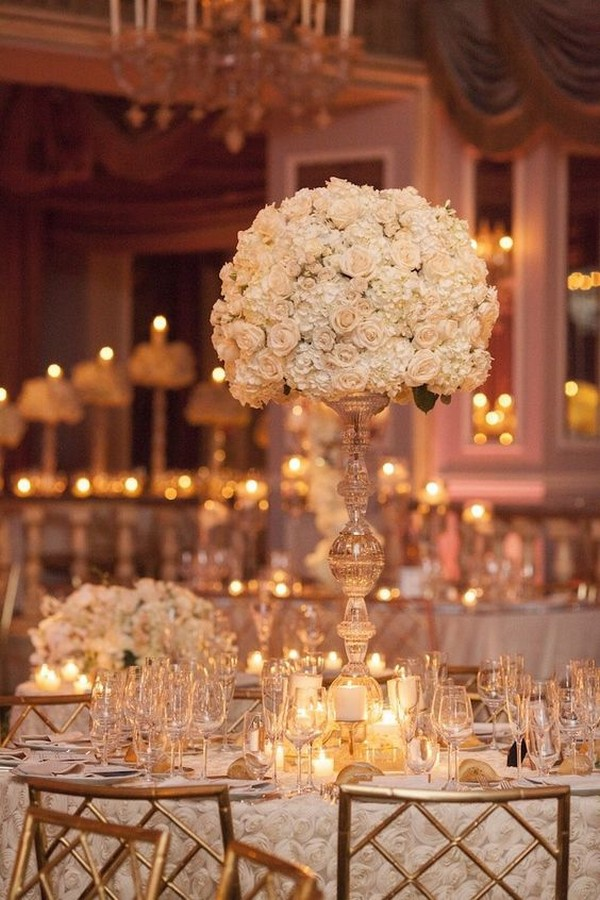 vintage tall wedding centerpiece with candlestick