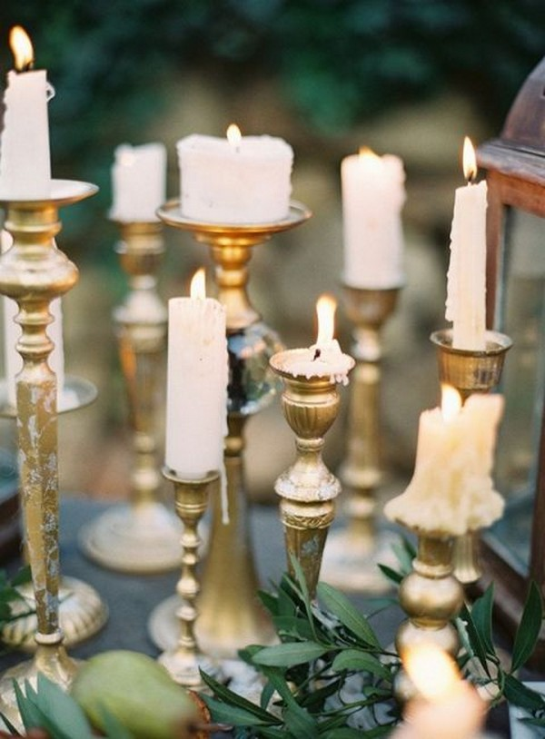 vintage wedding centerpiece ideas with gold candlesticks