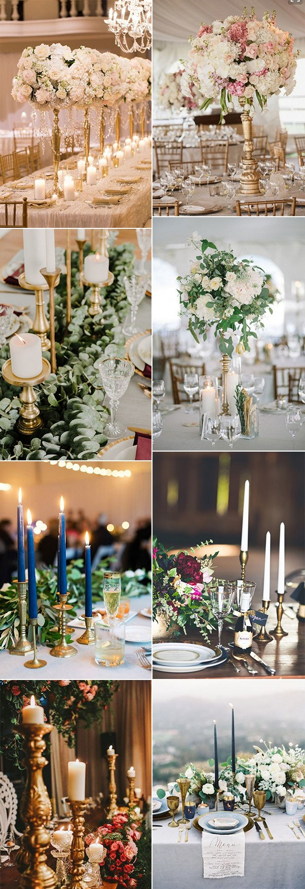 vintage wedding centerpieces with candlesticks