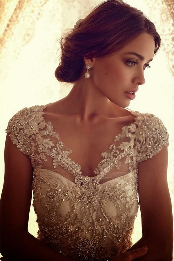 vintage wedding dresses with cap sleeves
