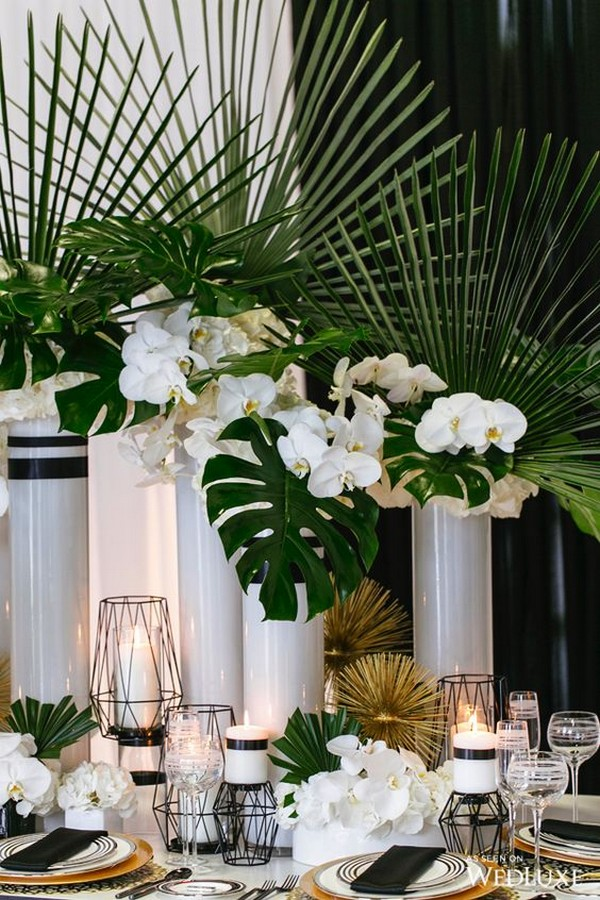 white and green tropical wedding centerpiece ideas