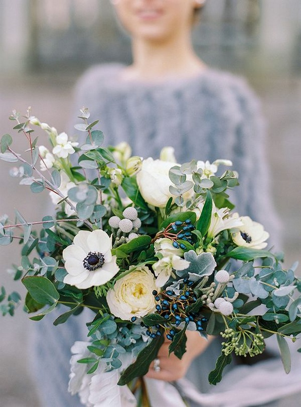 white and greenery wedding bouquet for fall and winter