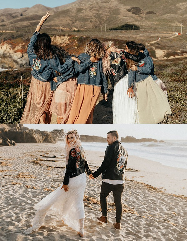 boho chic bridal party look with custom jackets for 2019