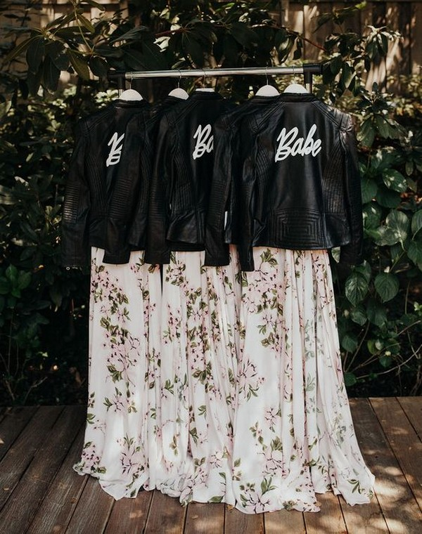 bridesmaid dresses with leather jackets