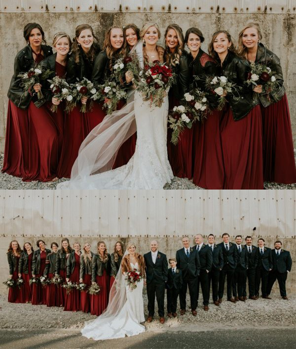 burgundy bridesmaid dresses with black leather jackets for 2019 trends